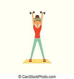 Young woman character exercising with dumbbells, girl working out in the fitness club or gym colorful vector Illustration