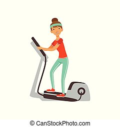 Young woman character exercising with elliptical trainer, girl working out in the fitness club or gym colorful vector Illustration