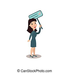 Young woman character holding placard election voting, political agitation campaign vector Illustration