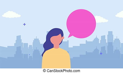 young woman character with speech bubble