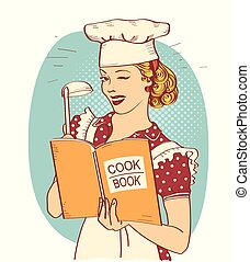 Young woman chef holding cook book in her hand on kitchen room. Reto style illustration