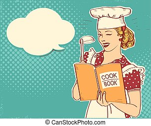 Young woman chef holding cook book in her hand on kitchen room.Reto color style illustration