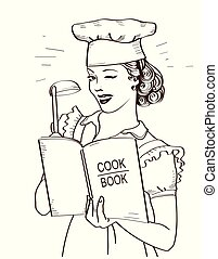Young woman chef holding cook book in her hands on kitchen room.Reto style illustration