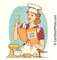 Young woman chef in retro style clothes cooking and holding cook book in her hand in the kitchen room.