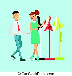 Young woman choosing electric fun with shop assistant help. Appliance store colorful vector Illustration