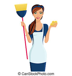 Young beautiful cleaning lady professional standing in apron with broom and dustcloth in hands isolated vector illustration