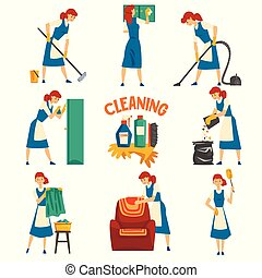 Young Woman Cleaning and Washing Set, Cleaning Lady Character Wearing Uniform with Blue Dress and White Apron, Cleaning Service Vector Illustration