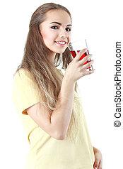 Young woman close up portrait drink juice. Female model happy sm