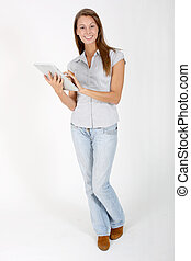 Young woman connected on internet with tablet