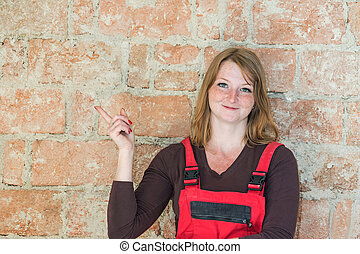 Young woman construction concept