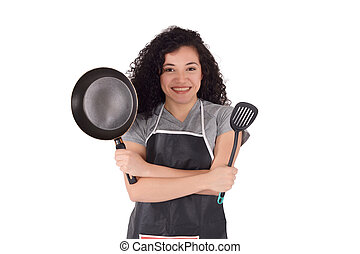 Young woman cooking