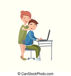 Young woman covering boyfriends eyes doing a surprise while he using laptop computer cartoon vector Illustration