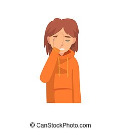 Young Woman Covering Her Face with Hand, Das Girl Making Facepalm Gesture, Shame, Headache, Disappointment, Negative Emotion Vector Illustration