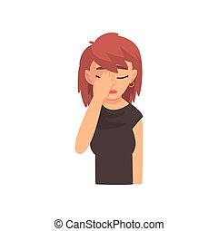 Young Woman Covering Her Face with Hand, Girl Making Facepalm Gesture, Shame, Headache, Disappointment, Negative Emotion Vector Illustration