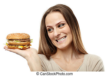 Young woman craving a burger