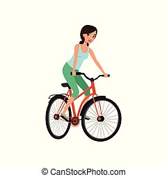 Young woman cycling her bike, active lifestyle concept vector Illustrations on a white background