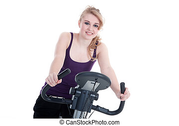 Young woman cycling smiles