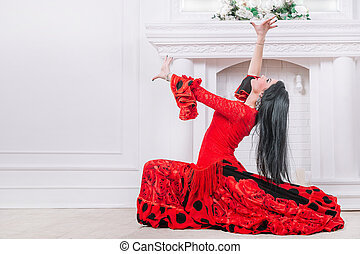 woman dancer in red dress performing Gypsy dance
