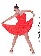 woman dancer pulling her nice red dress
