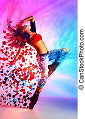 Young woman dancer - Young woman modern dance with special...
