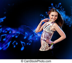 young woman dancing at disco