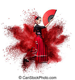 young woman dancing flamenco against explosion isolated on ...