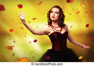 Young woman dancing for her abstract background