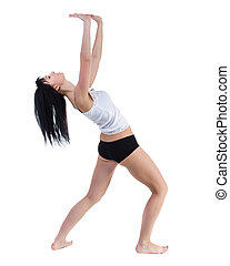 young woman dancing, isolated in full body on white