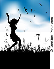 Young woman dancing on summer meadow