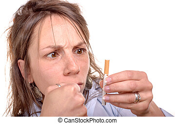 young woman decides to stop smoking