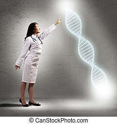 young woman doctor finger glowing DNA symbol