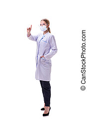 Young woman doctor isolated on white background