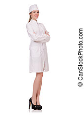 Young woman doctor isolated on white