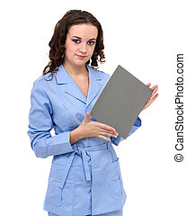 Young woman doctor showing empty blank clipboard sign with copy space