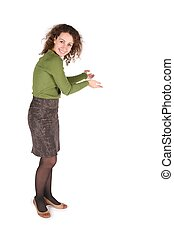 young woman does welcome gesture on white