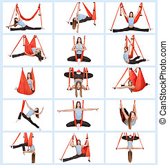 Young woman doing anti-gravity aerial yoga - Collage of...