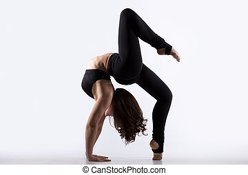 Young woman doing bridge exercise - Beautiful cool young fit...