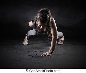 Push-Ups - Young Woman Doing Push-Ups