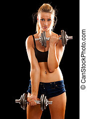 Young woman doing workout