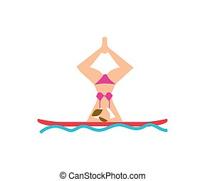 Young woman doing yoga asana on board