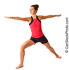 young woman doing yoga isolated