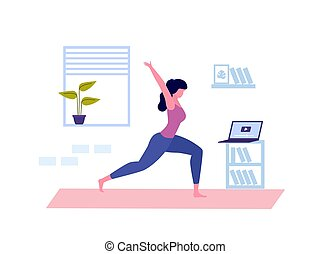 Young woman doing yoga. Online yoga class. Coronavirus Quarantine. Vector illustration