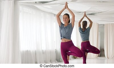 young woman doing yoga tree pose at studio - fitness, people...