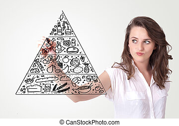 Young woman drawing a food pyramid on whiteboard - Young...