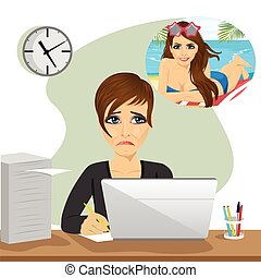 young woman dreams about vacation sitting with laptop in...