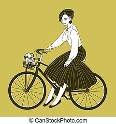 Young woman dressed in elegant clothes riding city bike drawn with contour lines on yellow background. Fashionable lady wearing blouse and pleated skirt sitting on bicycle. Vector illustration.