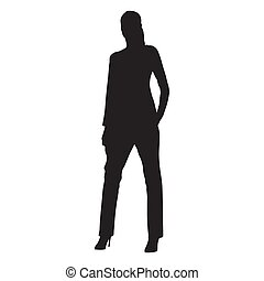 Young woman dressed in pants and high heel shoes standing with hand in her pocket, vector silhouette