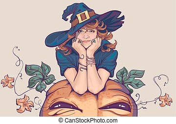 Young woman dressed up in witch costume