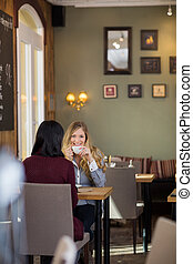 Young Woman Drinking Coffee With Female Friend