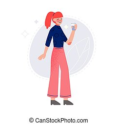 Young Woman Drinking Fresh Clean Water from Bottle Vector Illustration